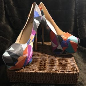 Shi Maniac Retro Multi Color Platform Heel